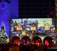 Video mapping et projections de Noël sur le Broletto de la Piazza Duomo à Côme