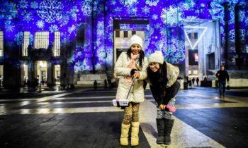 Projections de Noël Gare centrale de Milan