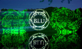 Projection de logos et de textes sur le feuillage des plantes