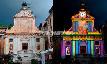 Projection architecturale cartographiée sur la façade d'une église