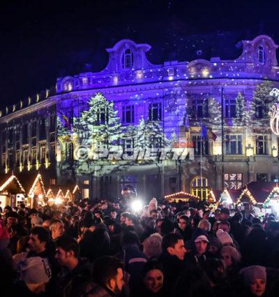 Projecteurs de Noël à Sibiu