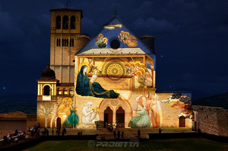 Proiezione Assisi - video mapping natalizio